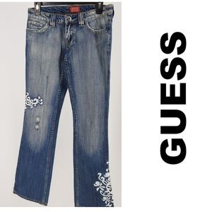 GUESS Jeans Sahara Wash Embroidered Sz 26 NWT